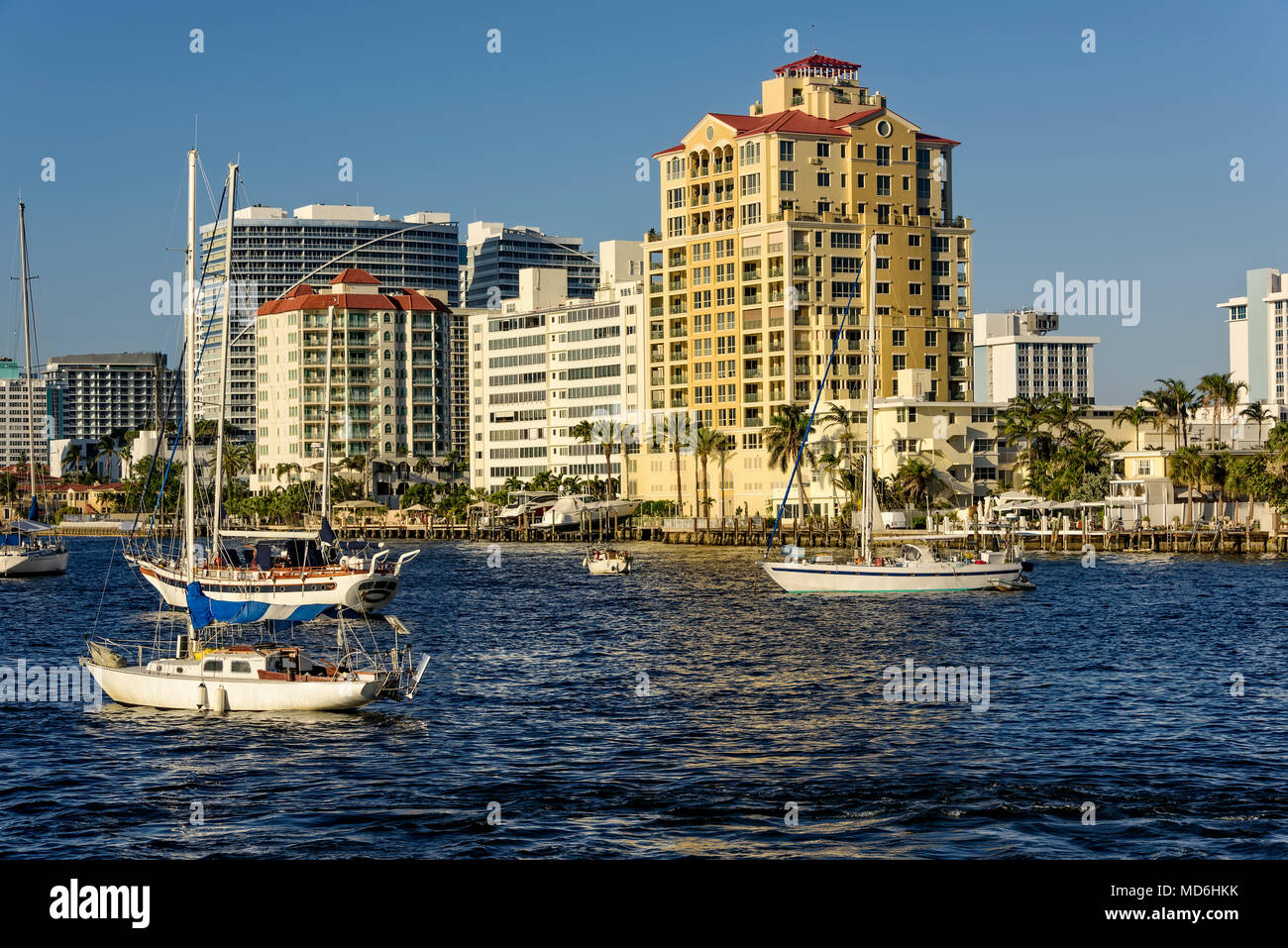 Highrise buildings and boats on the intercoastal waterway in Fort Lauderdale, Florida Stock Photo
