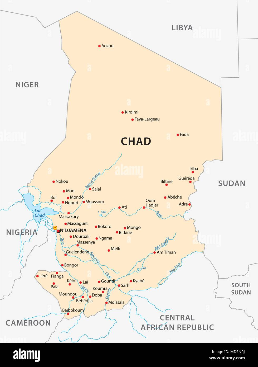 republic of Chad vector map, africa - Stock Image