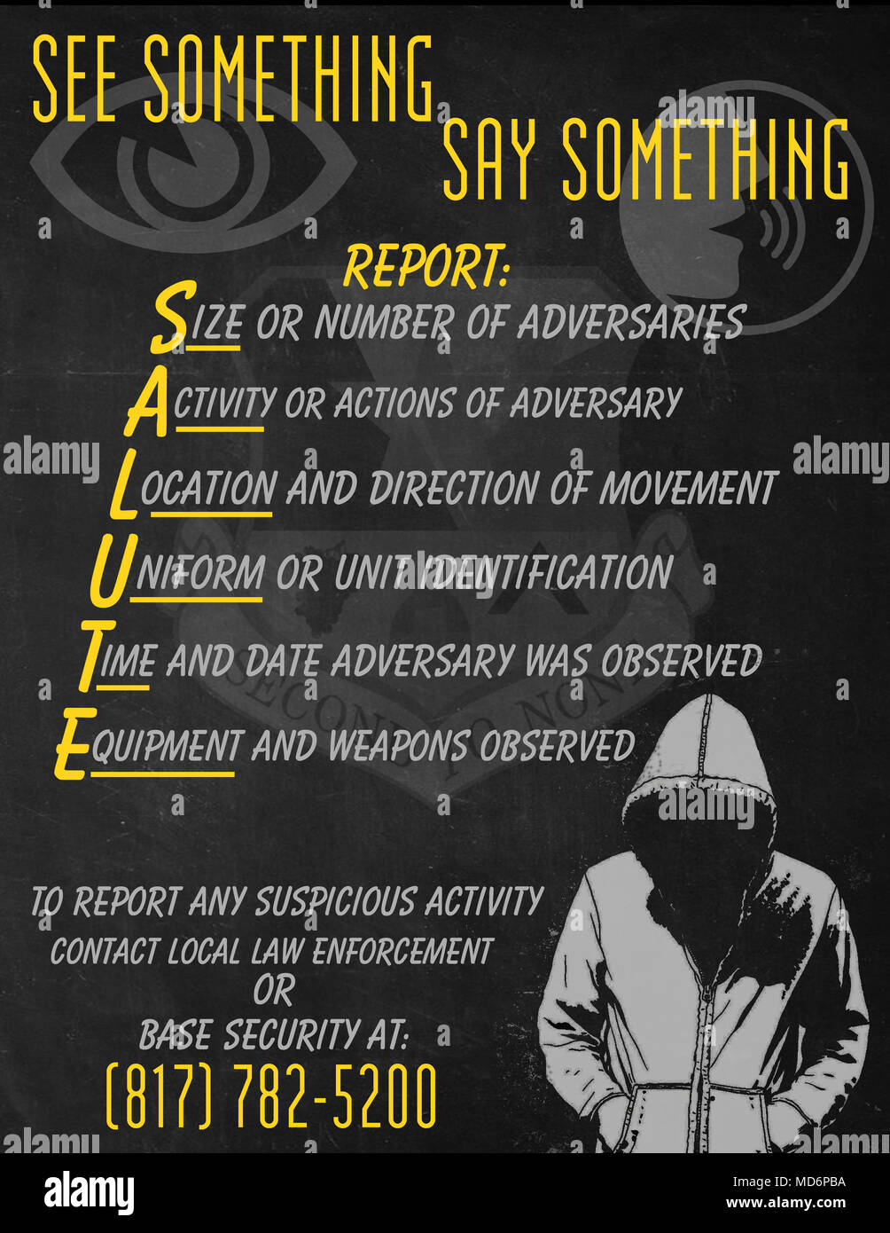 Remember your SALUTE report and if you see something, say something. - Stock Image