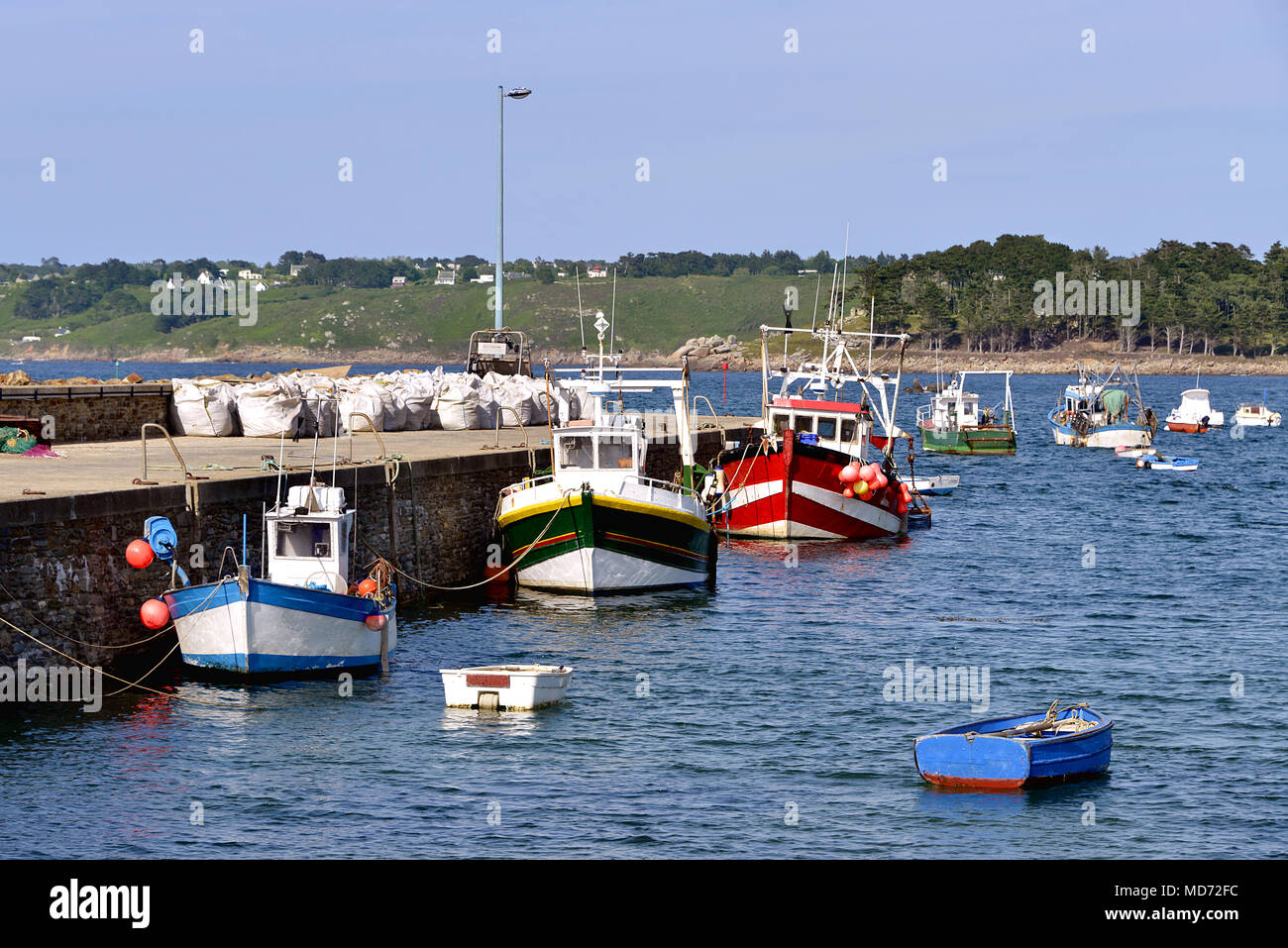 Port of Trédrez-Locquémeau, commune in the Côtes-d'Armor department of Brittany in northwestern France Stock Photo