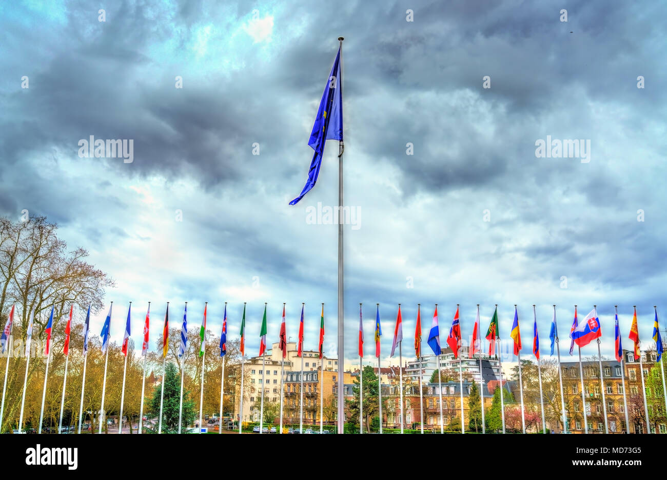 Flags of the member states of the Council of Europe in Strasbourg, France - Stock Image