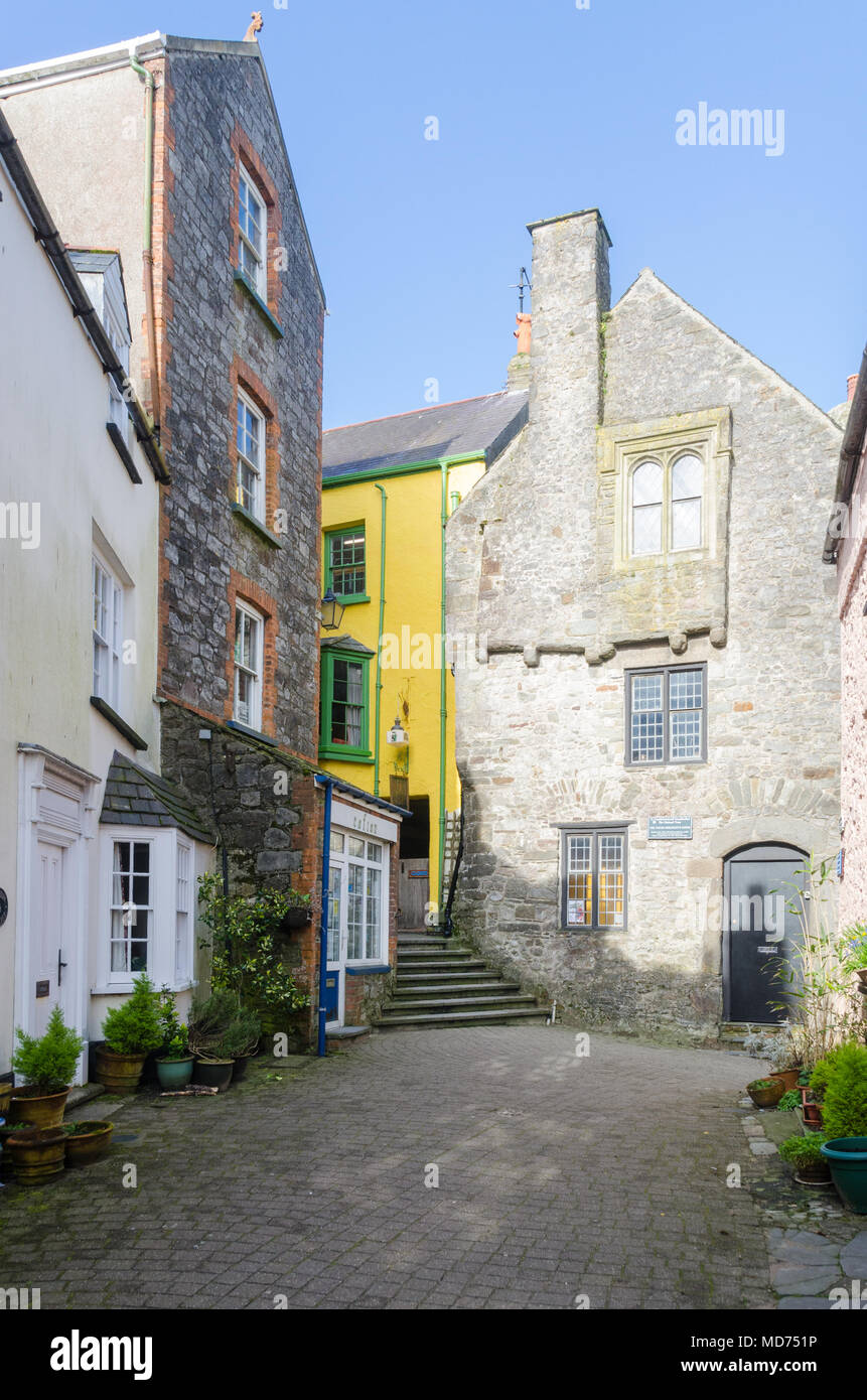 The Tudor Merchant's House in Quay Hill, Tenby showing 15th century architecture and living conditions - Stock Image