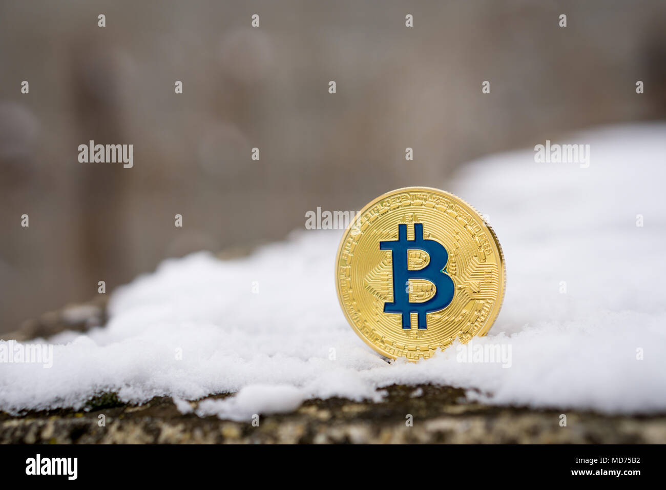 A gold colored Bitcoin placed in snow on concrete. Isolated scene of  cryptocurrency in snow - Stock Image
