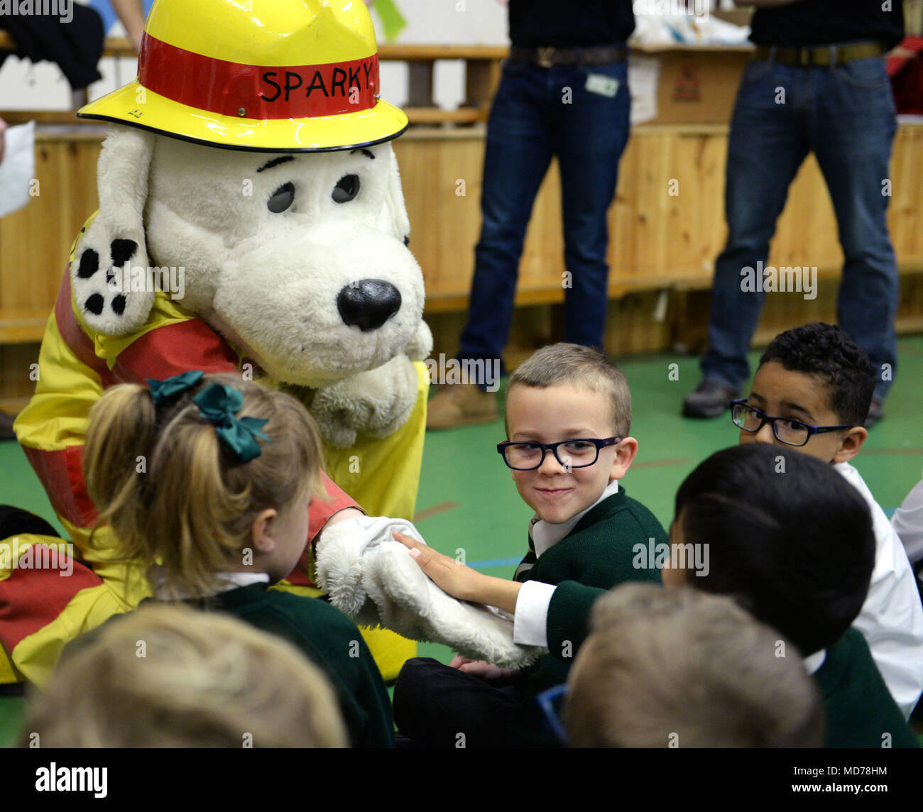 Sparky The Fire Dog 100th Civil Engineer Squadron Department Mascot Greets Young Students