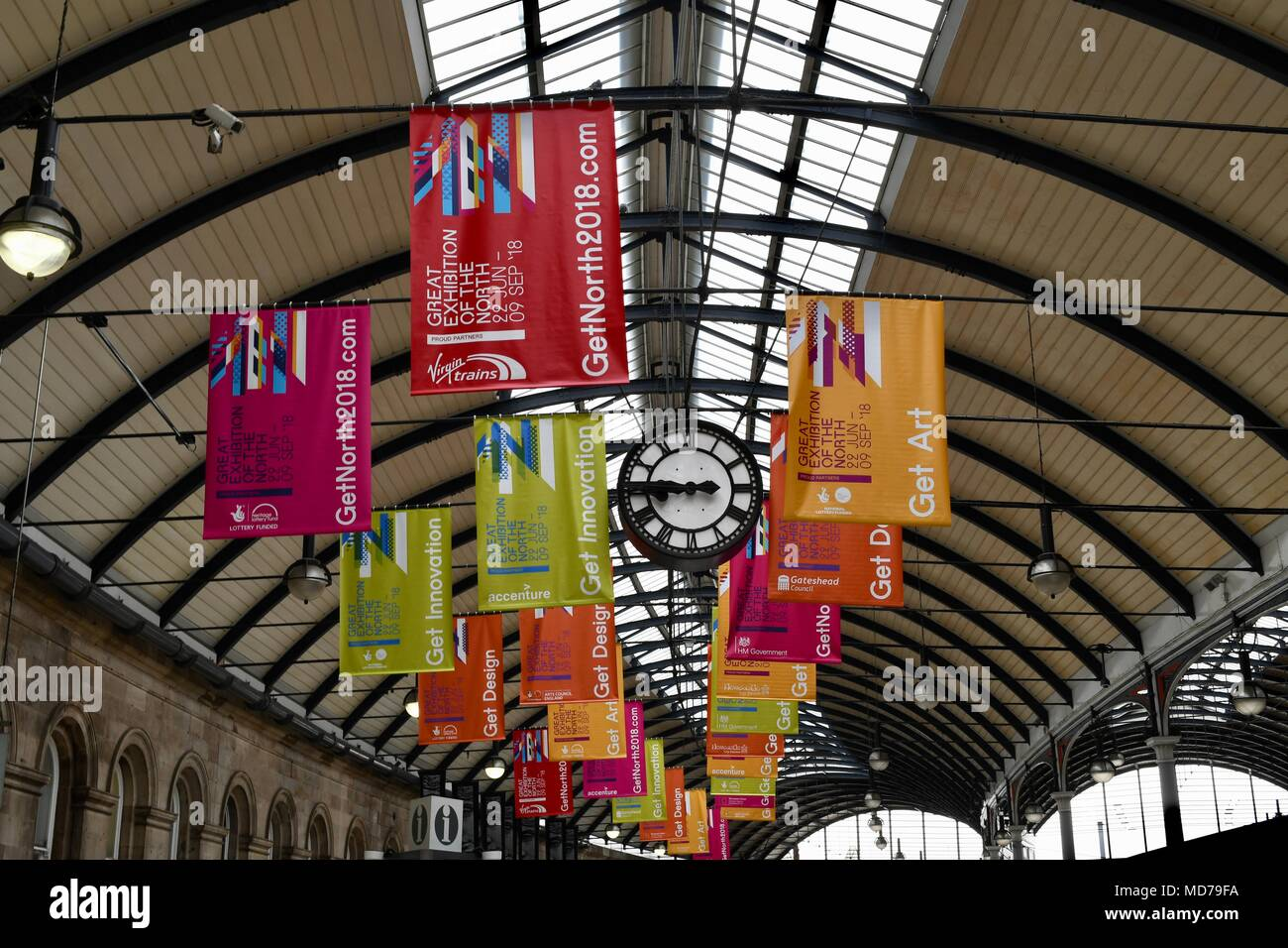 Banners at Newcastle Station announcing the Great Exhibition of the North - Stock Image