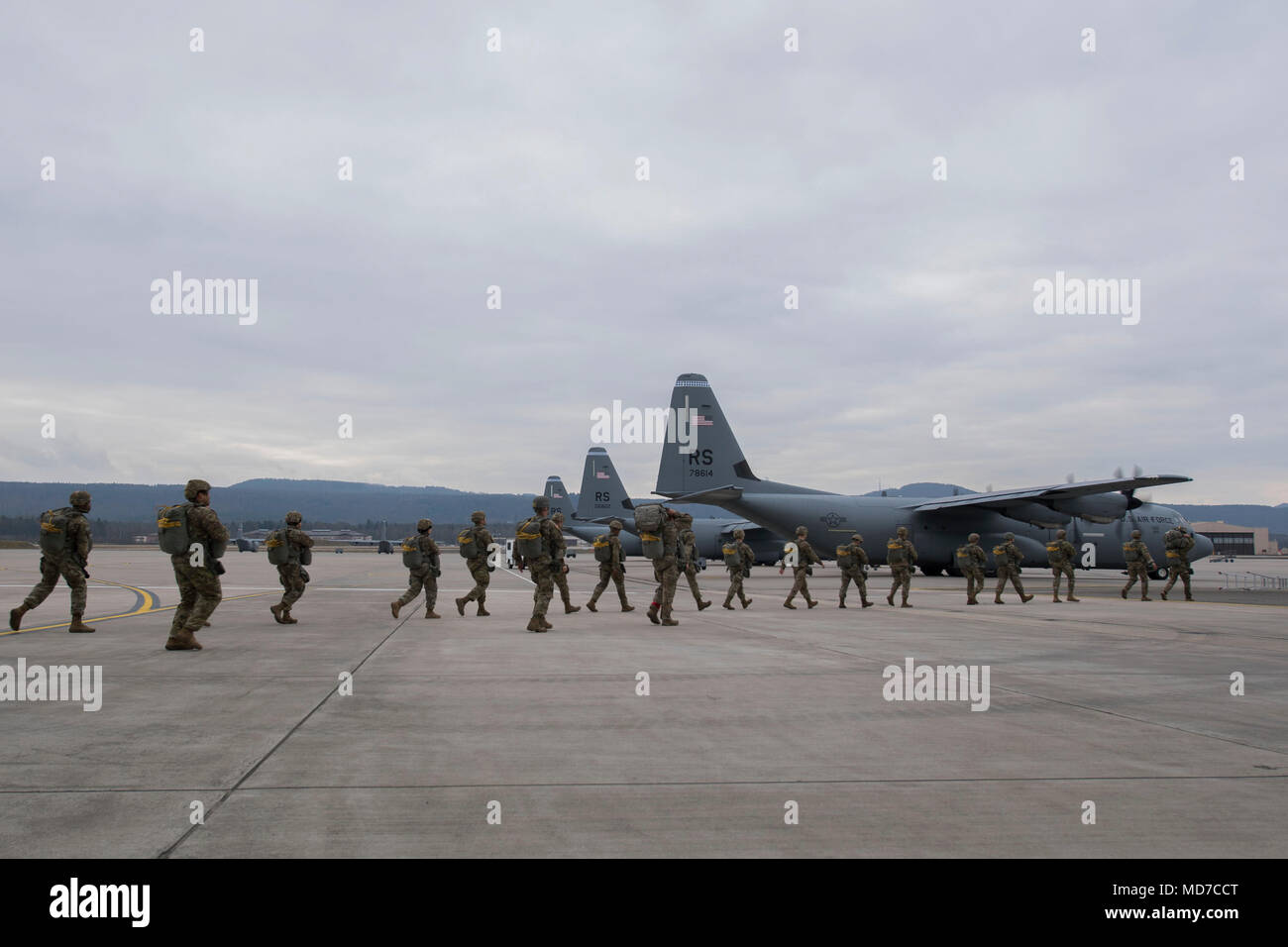 U.S. Airmen and Soldiers assigned to the 435th Contingency