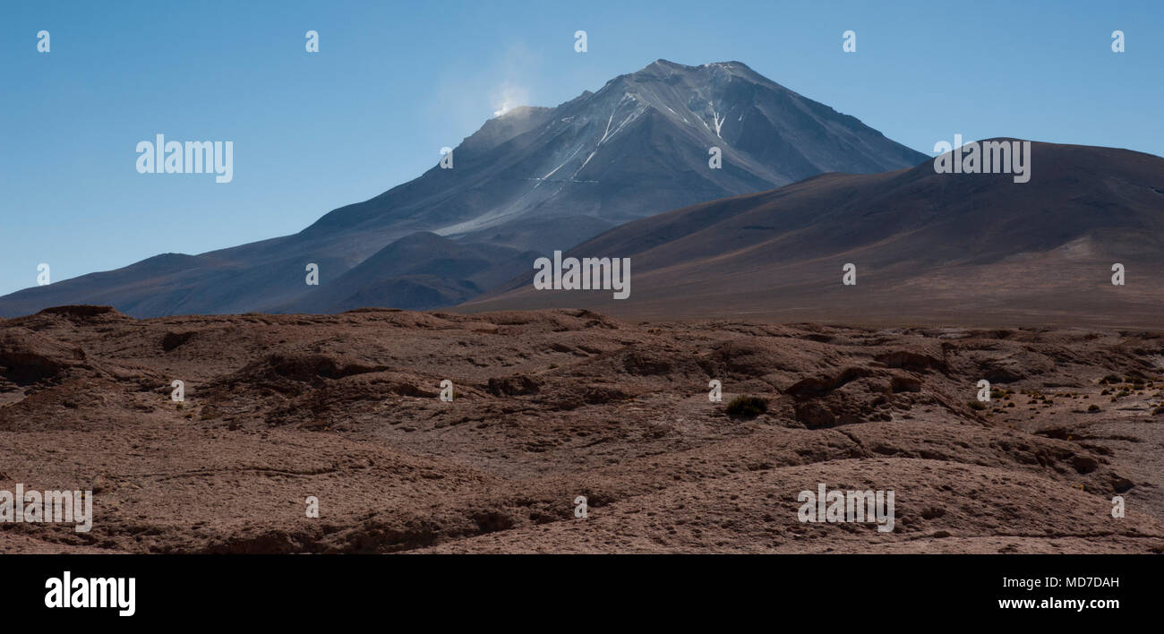 Mirador of Volcano Ollague. It's a massive stratovolcano on the border between Bolivia and Chile and its highest summit is 5,868 mt - Stock Image