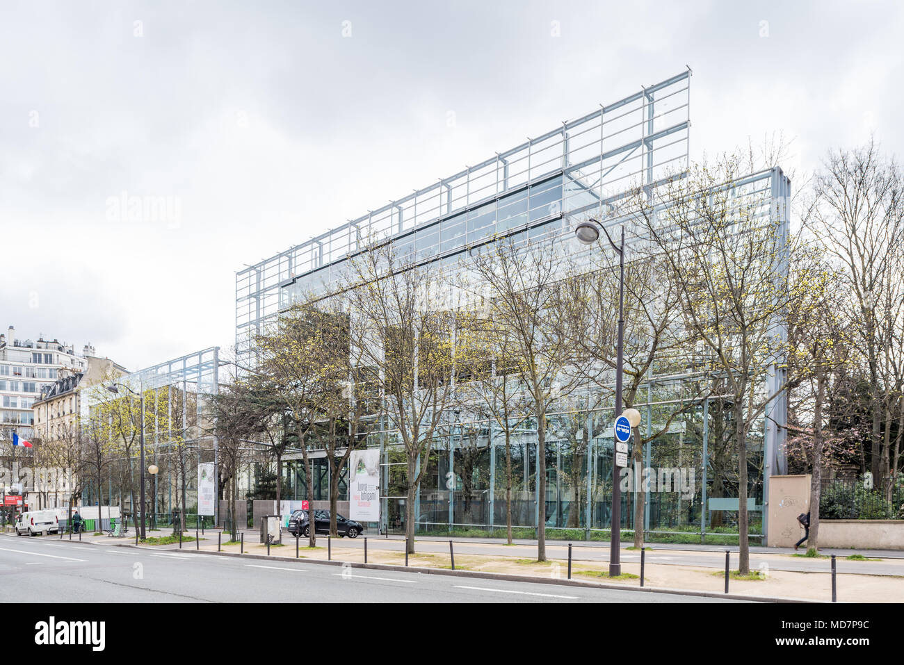 France, Paris - 5 April 2018: Fondation Cartier pour l'art contemporain designed by French architect Jean Nouvel Stock Photo