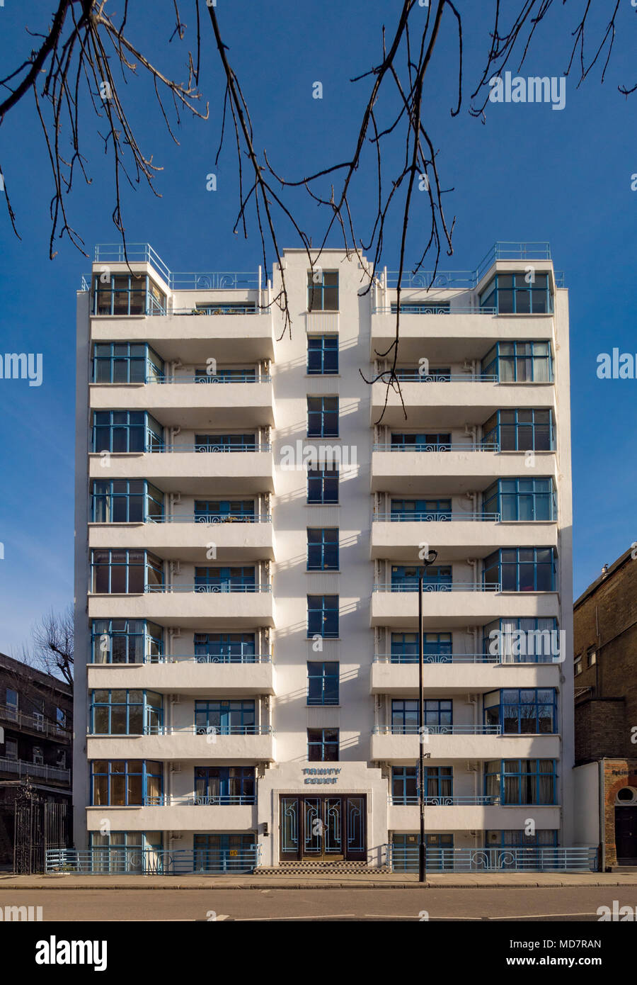 Trinity Court, a Modernist style residential apartment building on Grays Inn Road, London, UK. Designed by F Taperell and Haase. - Stock Image