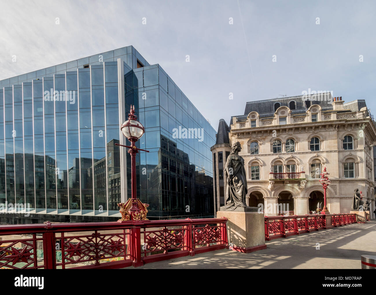 Holborn Viaduct, a cast-iron girder bridge in London and the name of the street which crosses it, UK. - Stock Image