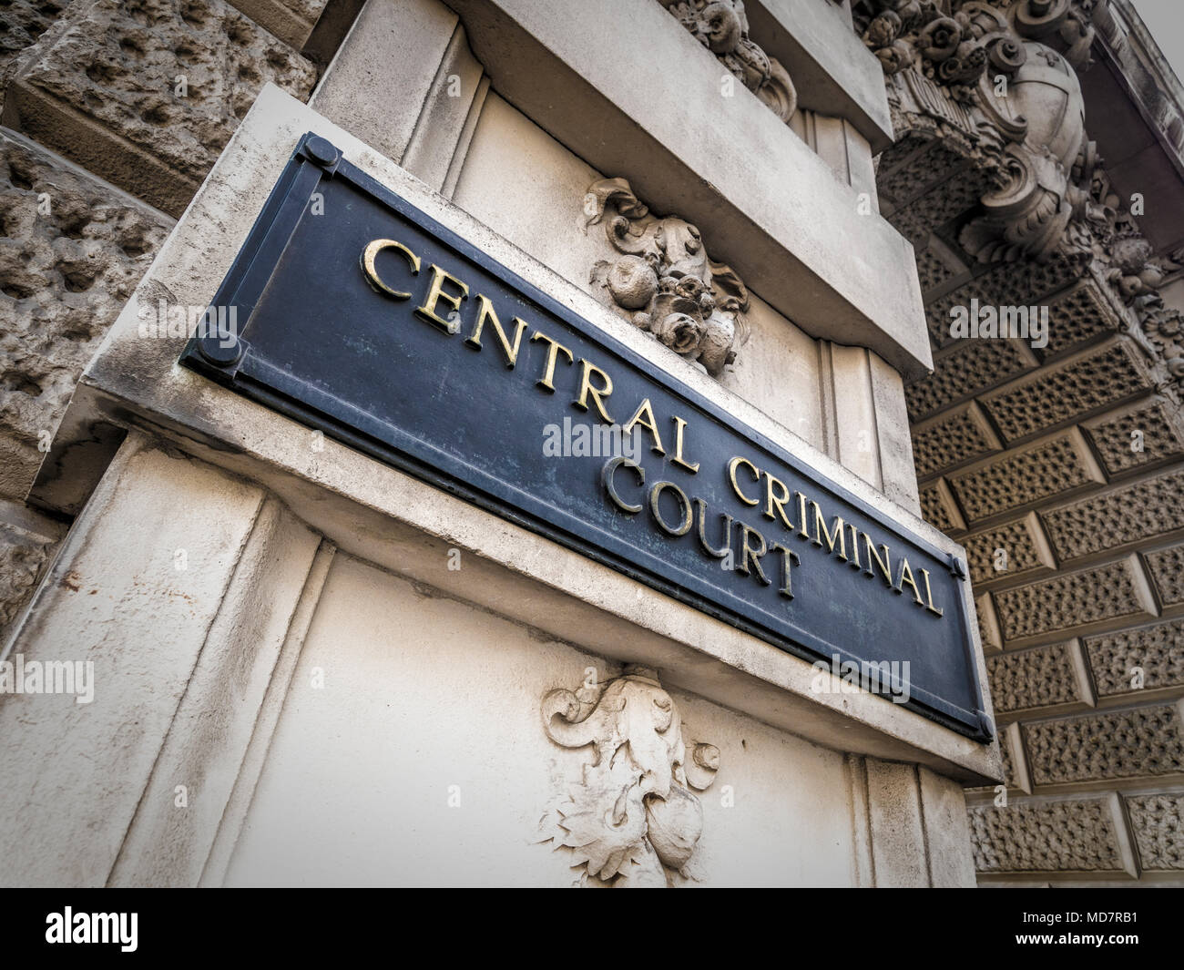 Central Criminal Court sign on exterior of Old Bailey, London, UK. - Stock Image