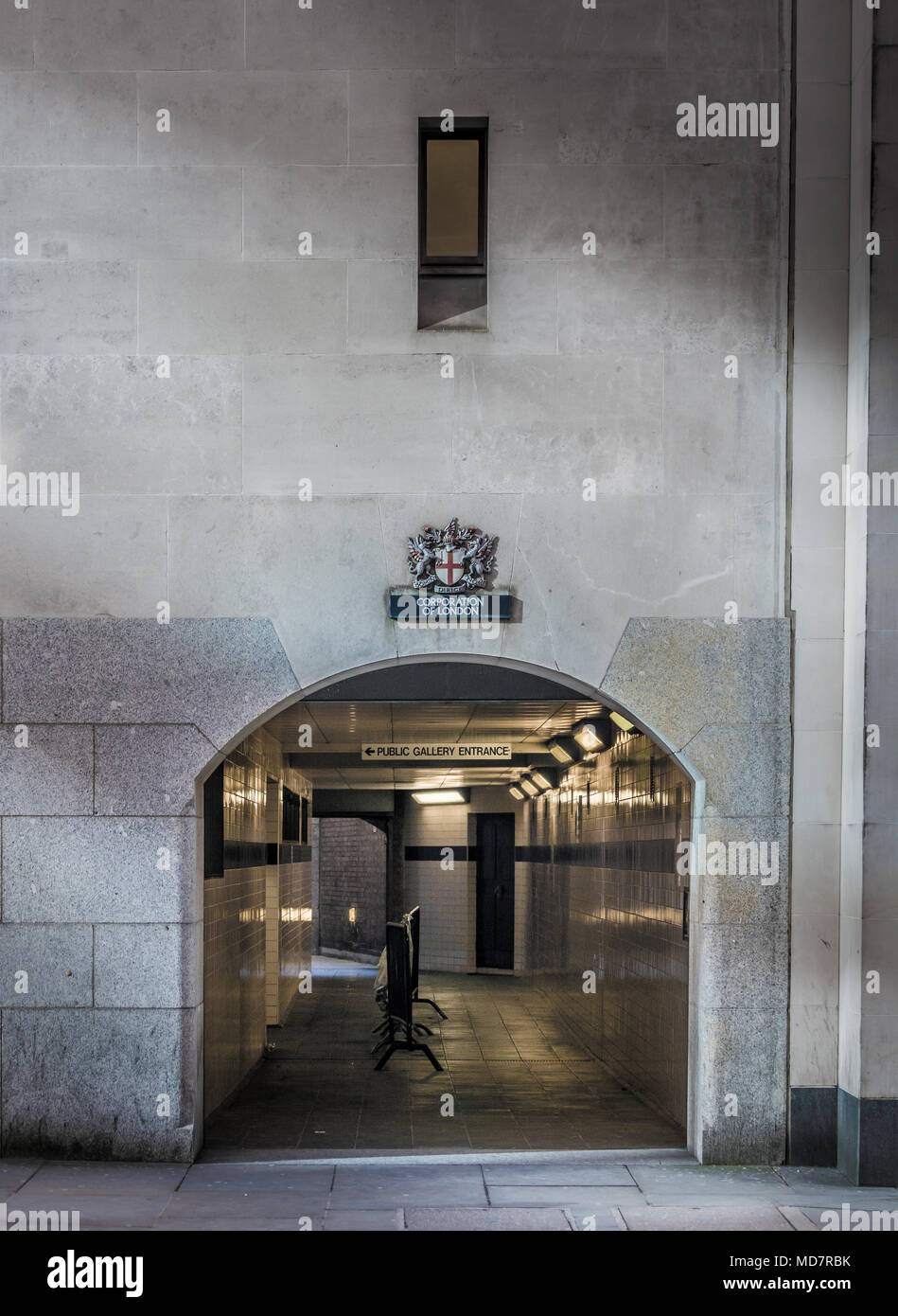 Warwick passage entrance to the public galleries at the Old Bailey, London, UK. - Stock Image