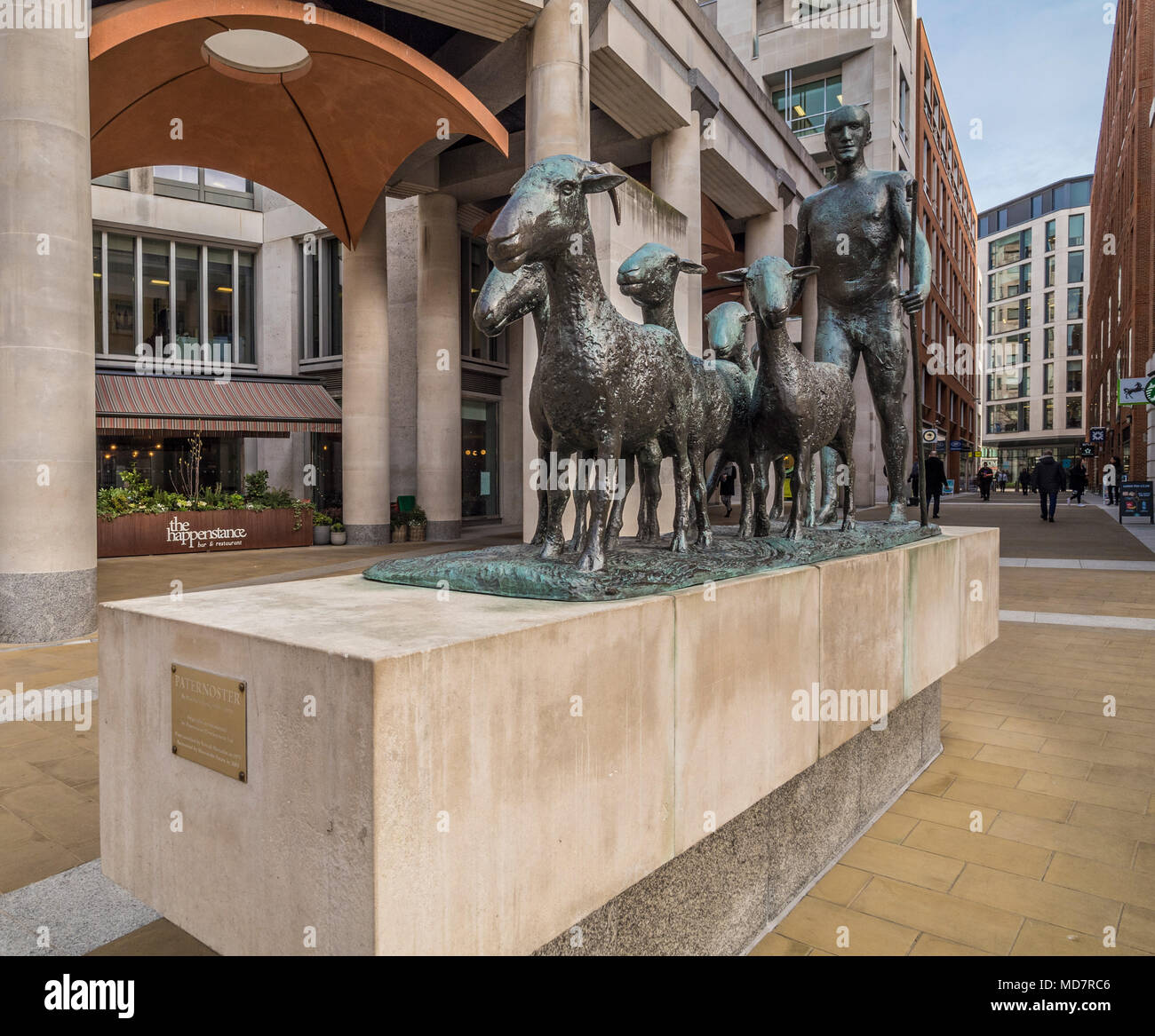 Paternoster (also known as Shepherd and Sheep or Shepherd with his Flock) outdoor 1975 bronze sculpture by Elisabeth Frink, Paternoster Square, London - Stock Image