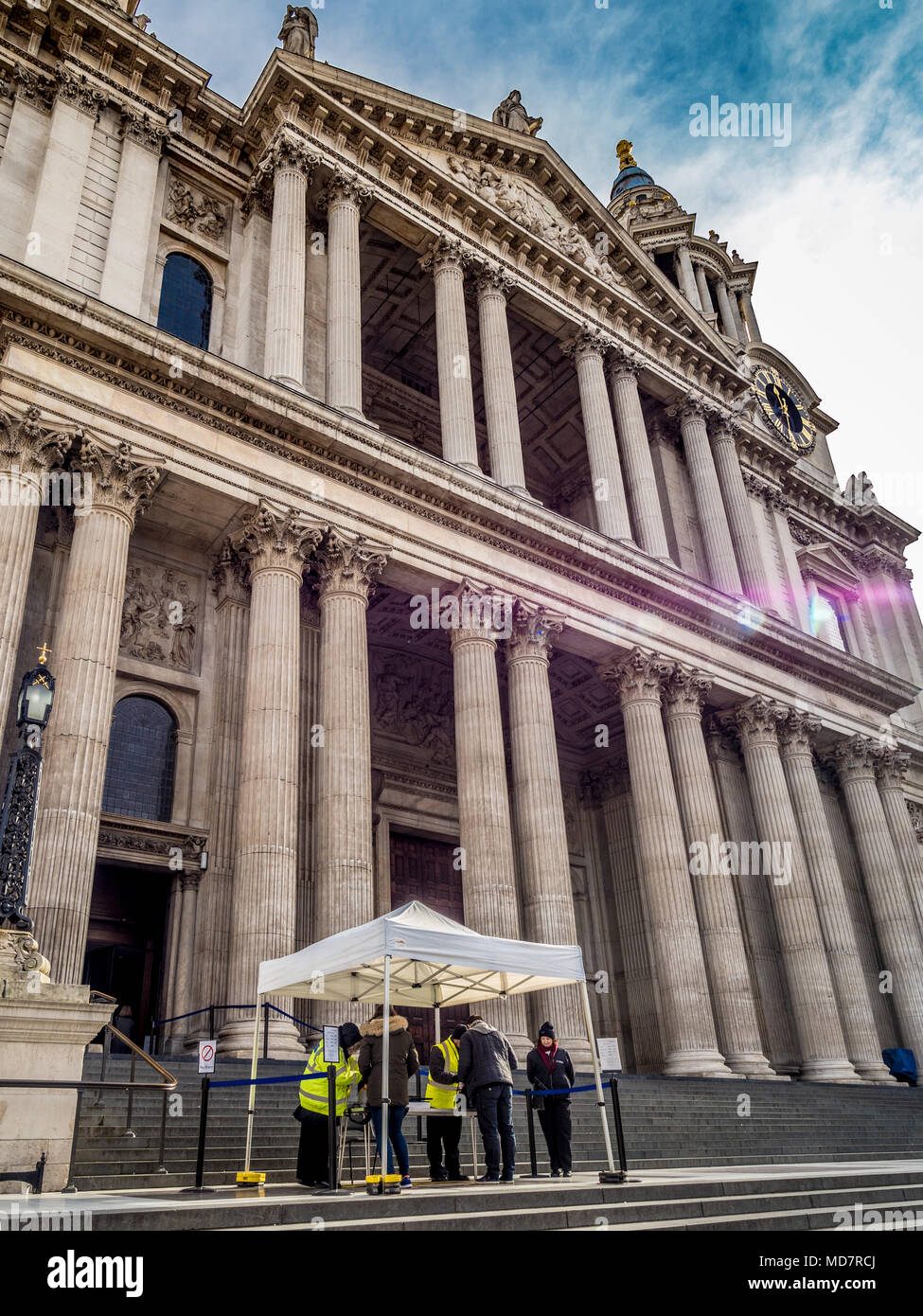 Security and bag check outside St Paul's Cathedral, London, UK as a result of terrorist attacks in the capital. Stock Photo