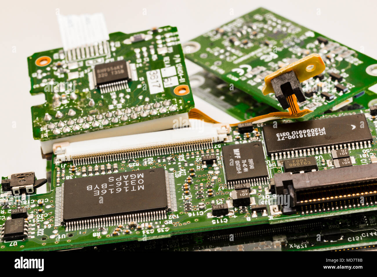 Computer components from a personal computer disc player - Stock Image