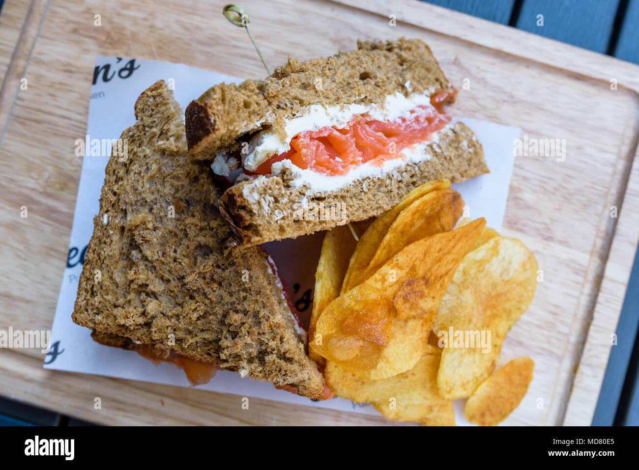 Salmon and cream cheese sandwich - Stock Image