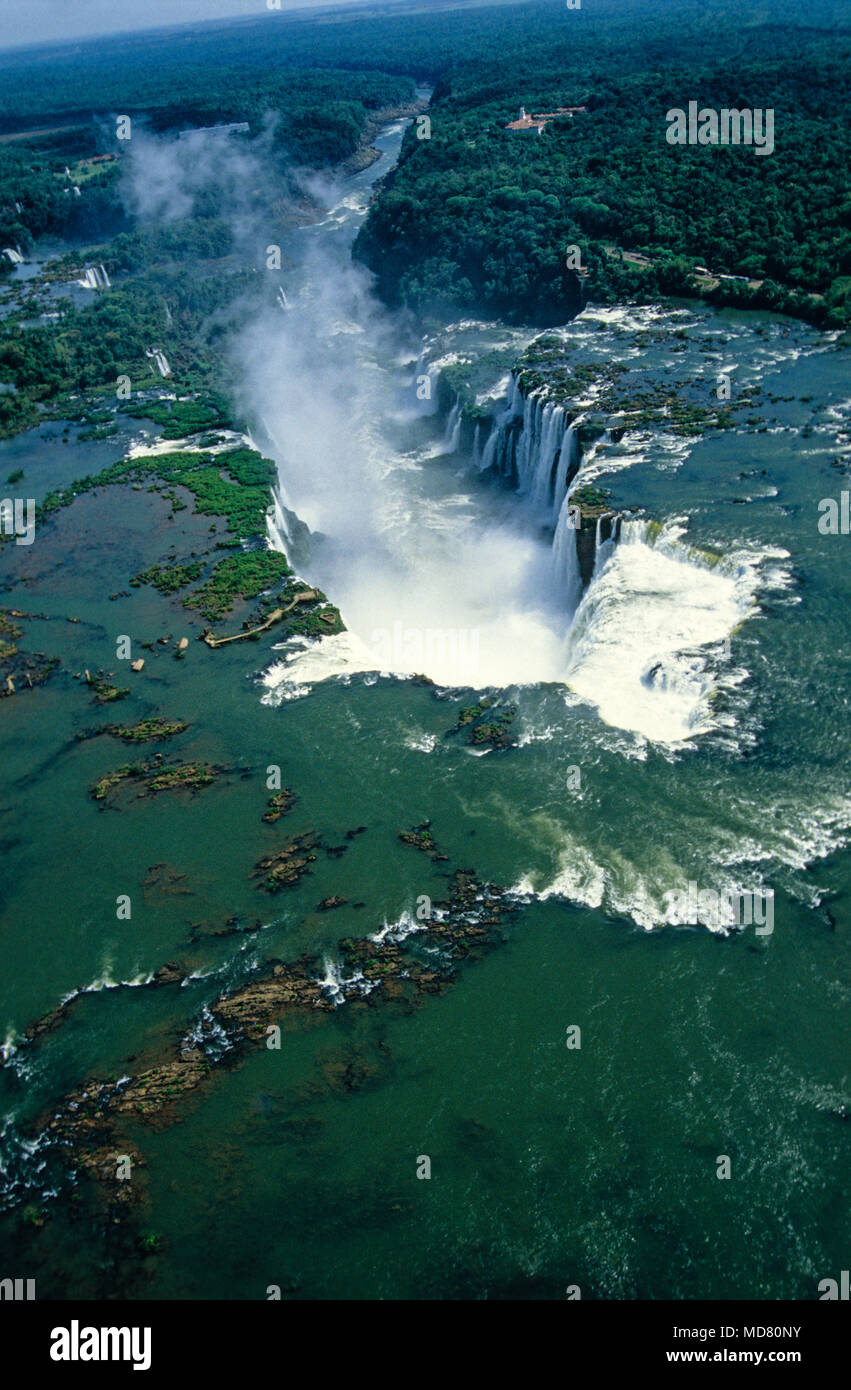 Foz do Iguaçu Waterfalls from the Air, Parana State, Brazil. - Stock Image