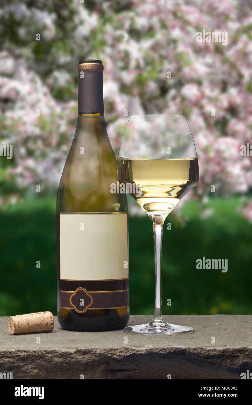 0ec3f13efad8 A bottle of white wine with a blank label alongside a glass of white wine  sitting