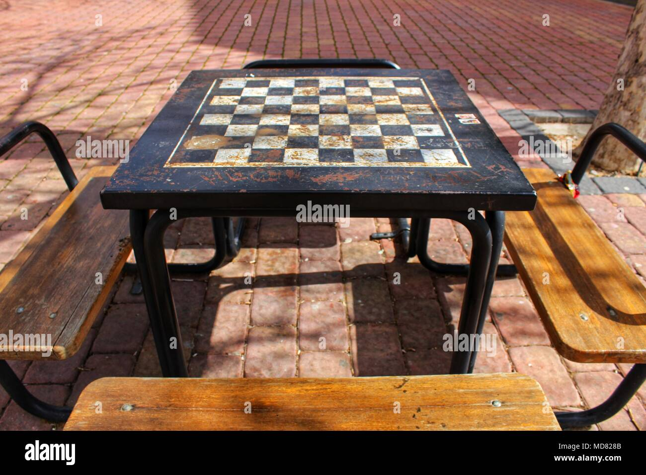 Board Games On The Street On Wooden Table And Chairs Stock Photo ...