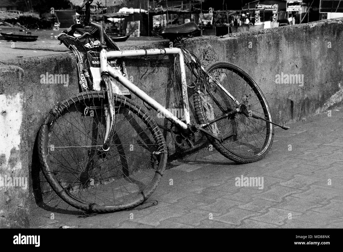 A bicycle that has a resourceful owner! India - Stock Image