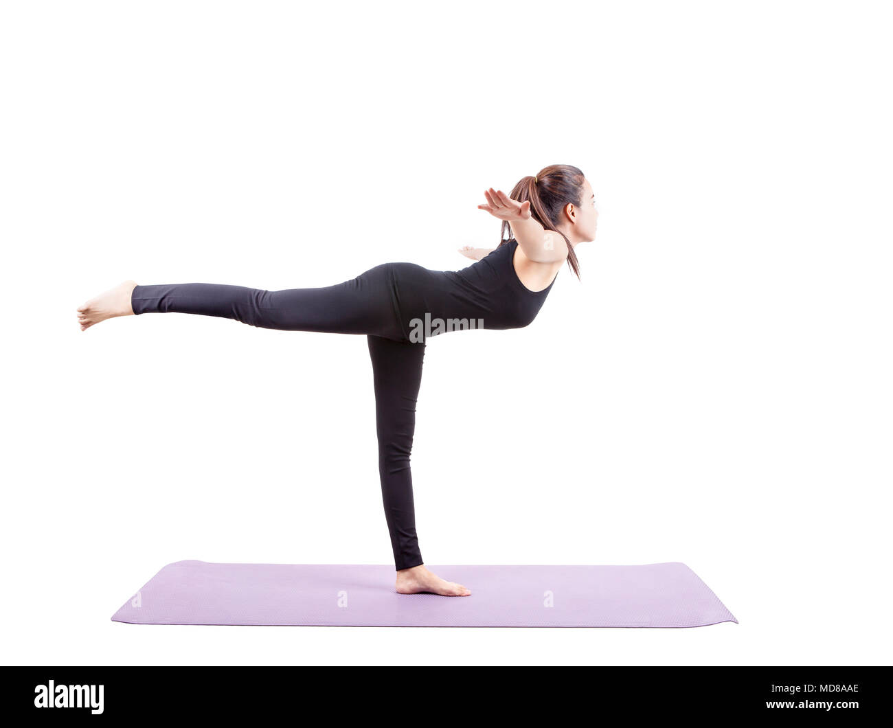 asian woman health care yoga posting isolated white background - Stock Image