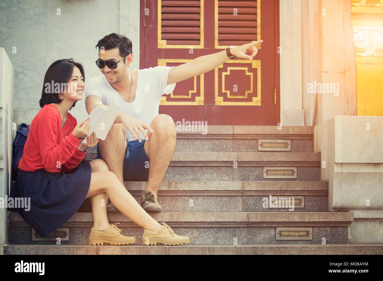 couples of younger asian man and woman happiness on traveling destination - Stock Image