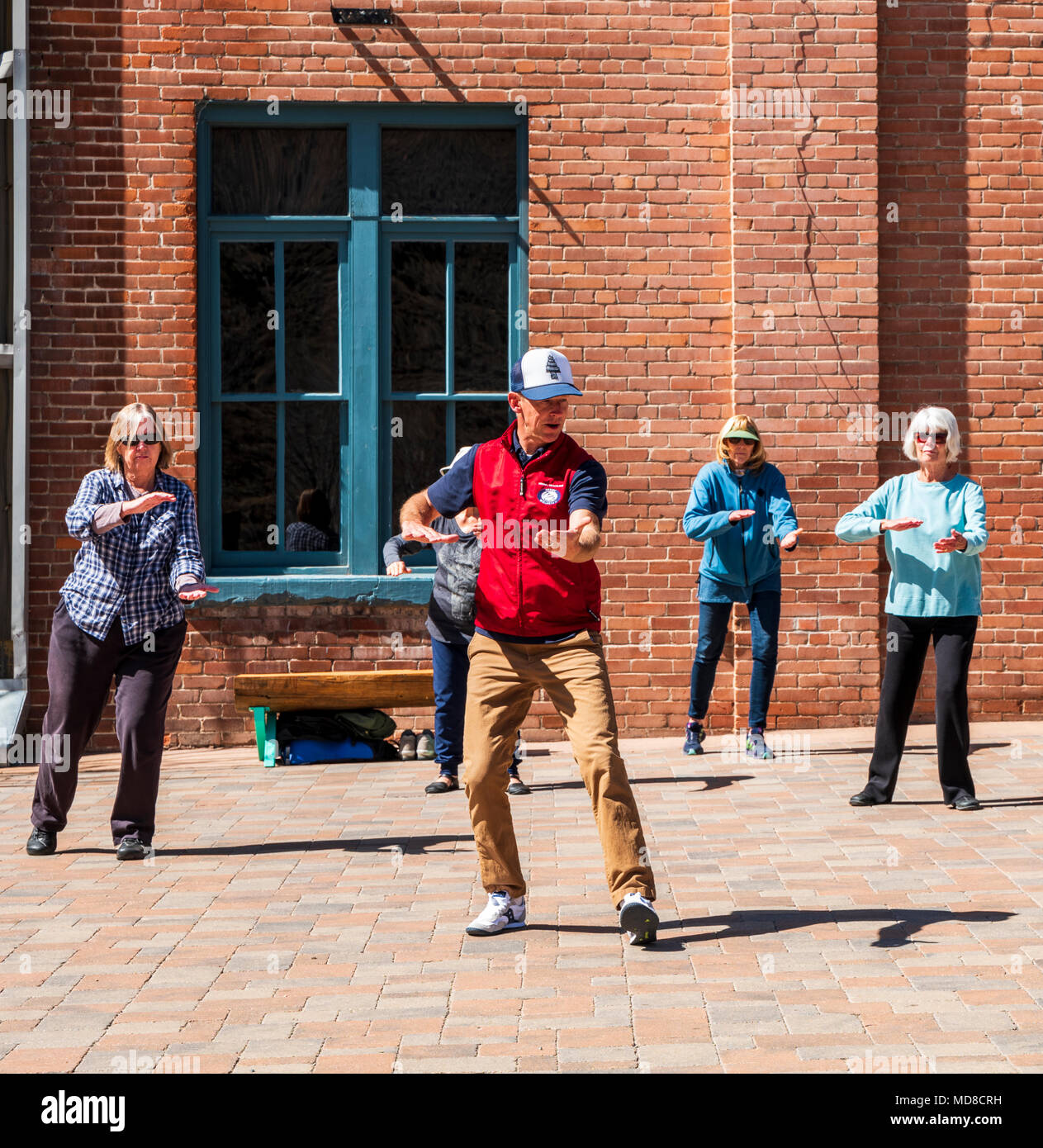 Tai chi (taiji); t'ai chi ch'üan; martial arts class; Salida SteamPlant Theater and Event Center; Salida; Colorado; USA - Stock Image