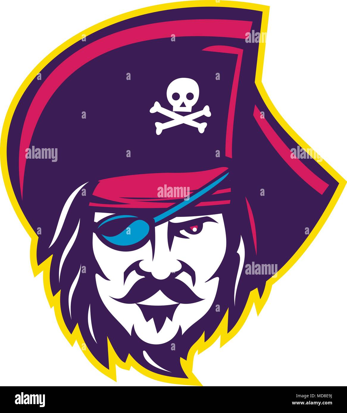 Mascot icon illustration of head of a privateer, corsair or pirate wearing a cocked or tricorne  tricon hat with eye patch viewed from front on isolat - Stock Image