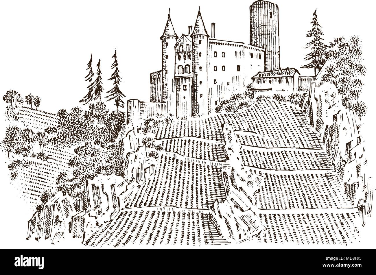 Castle On A Hill Ancient Landscape For The Label Engraved Hand Drawn Sketch In