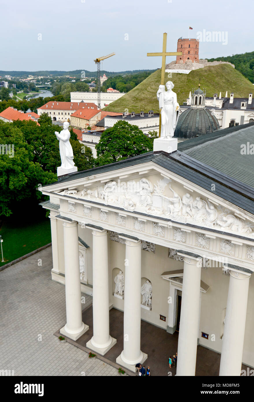 Vilnius Cathedral with Gediminas Tower on the background Stock Photo