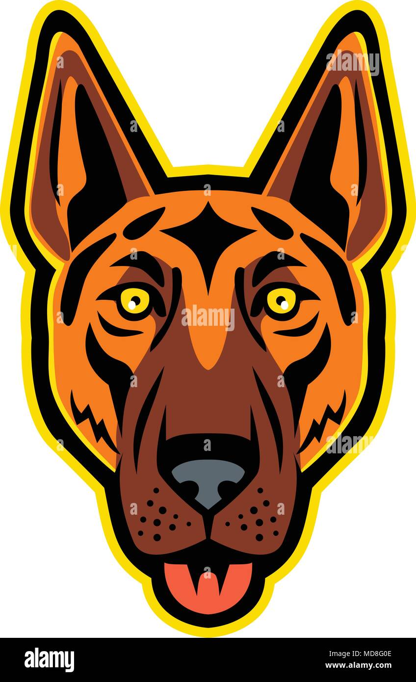 Mascot icon illustration of head of a German Shepherd Dog, Alsatian wolf dog, Berger Allemand, or Deutscher Schaferhund with tongue out viewed from fr - Stock Vector