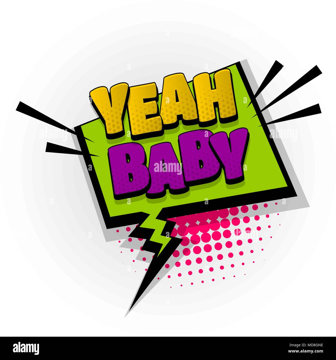 yeah baby comic book text pop art stock vector art illustration