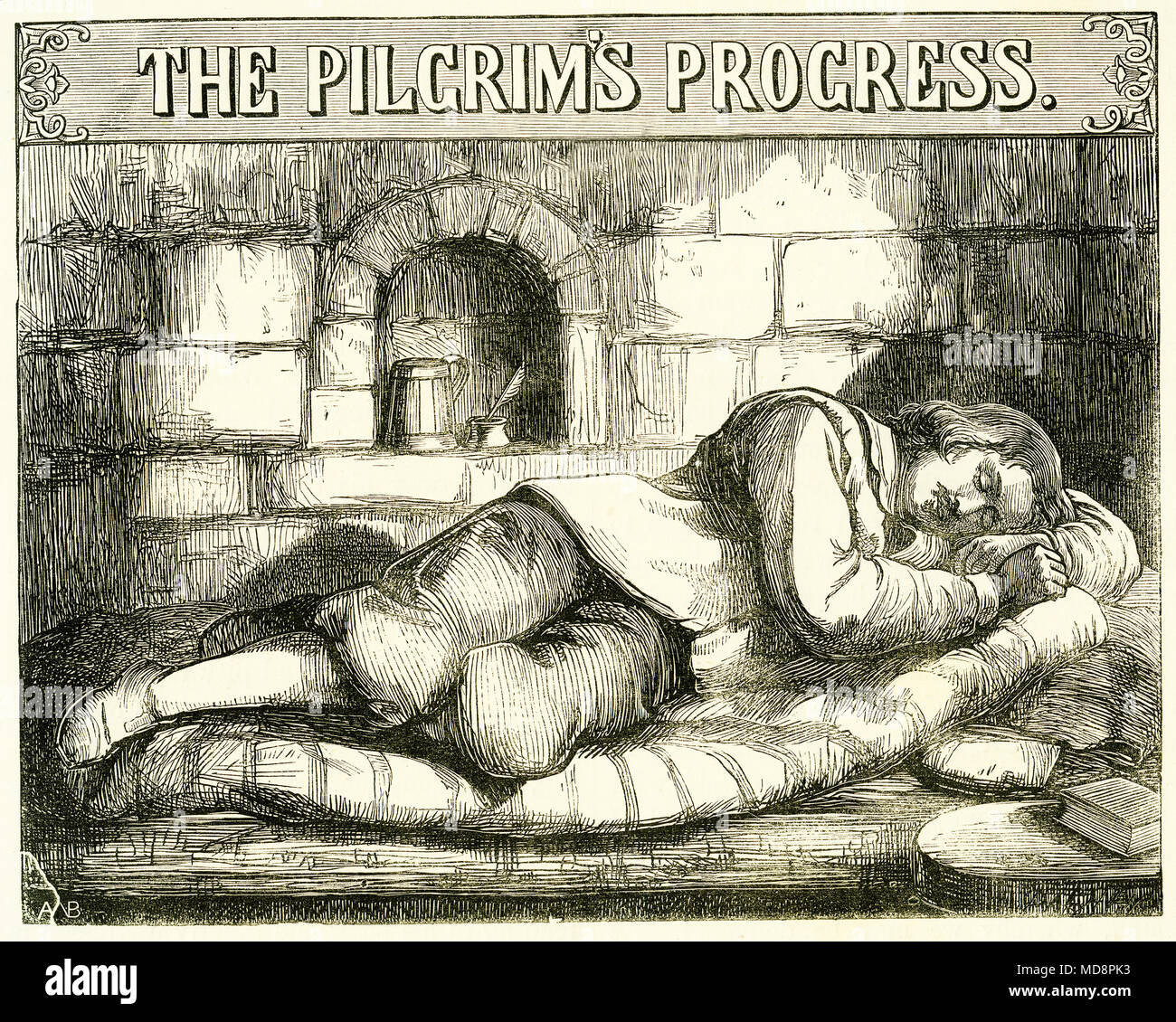 Engraving of the title page for The Pilgrim's Progress by John Bunyan, a classical work of English literature. From an original engraving in The Select Works of John Bunyan, circa 1840. - Stock Image