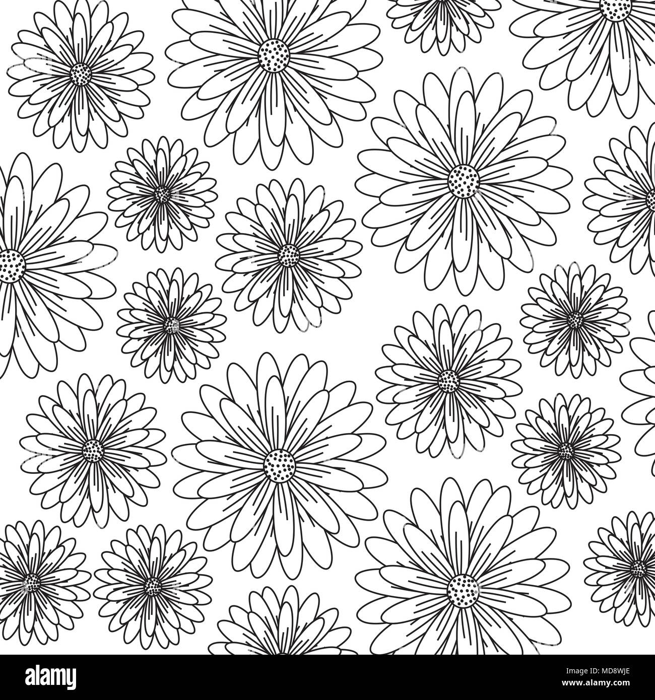 Floral Background Black And White Design Vector Illustration