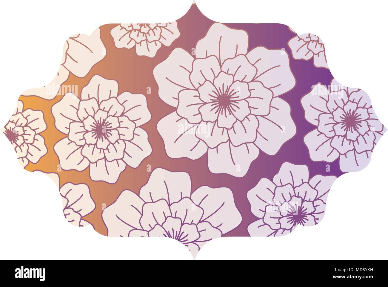 Colorful Decorative Frame With Beautiful Flowers Design Vector