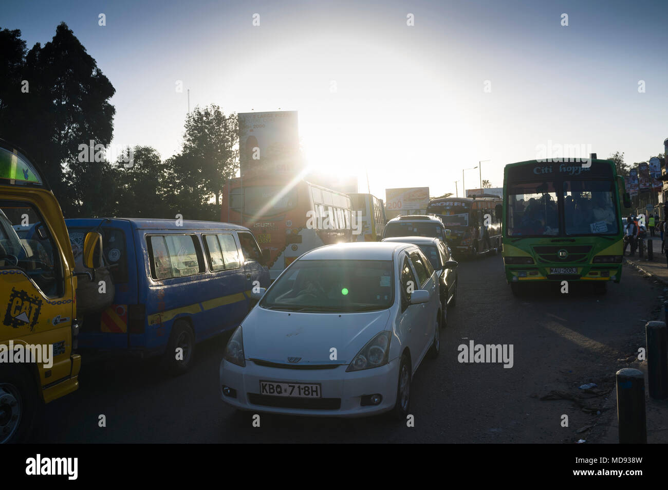 Evening rush hour, traffic congestion, Ngong Road, Nairobi, Kenya - Stock Image