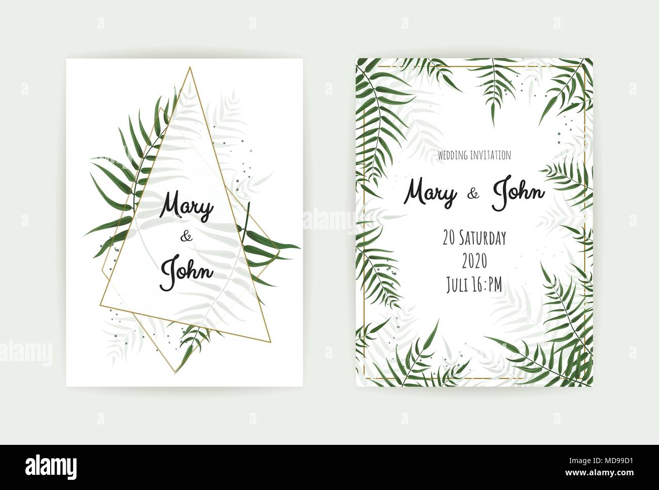 Wedding Invitation with green leaf , eucalyptus branches - Stock Vector
