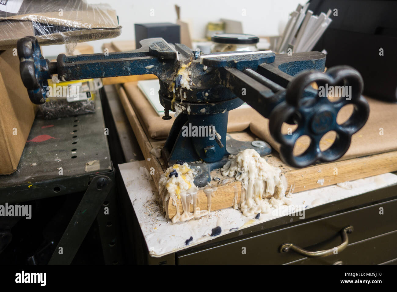 Equipment and tools in a frame making shop Stock Photo: 180306560 ...