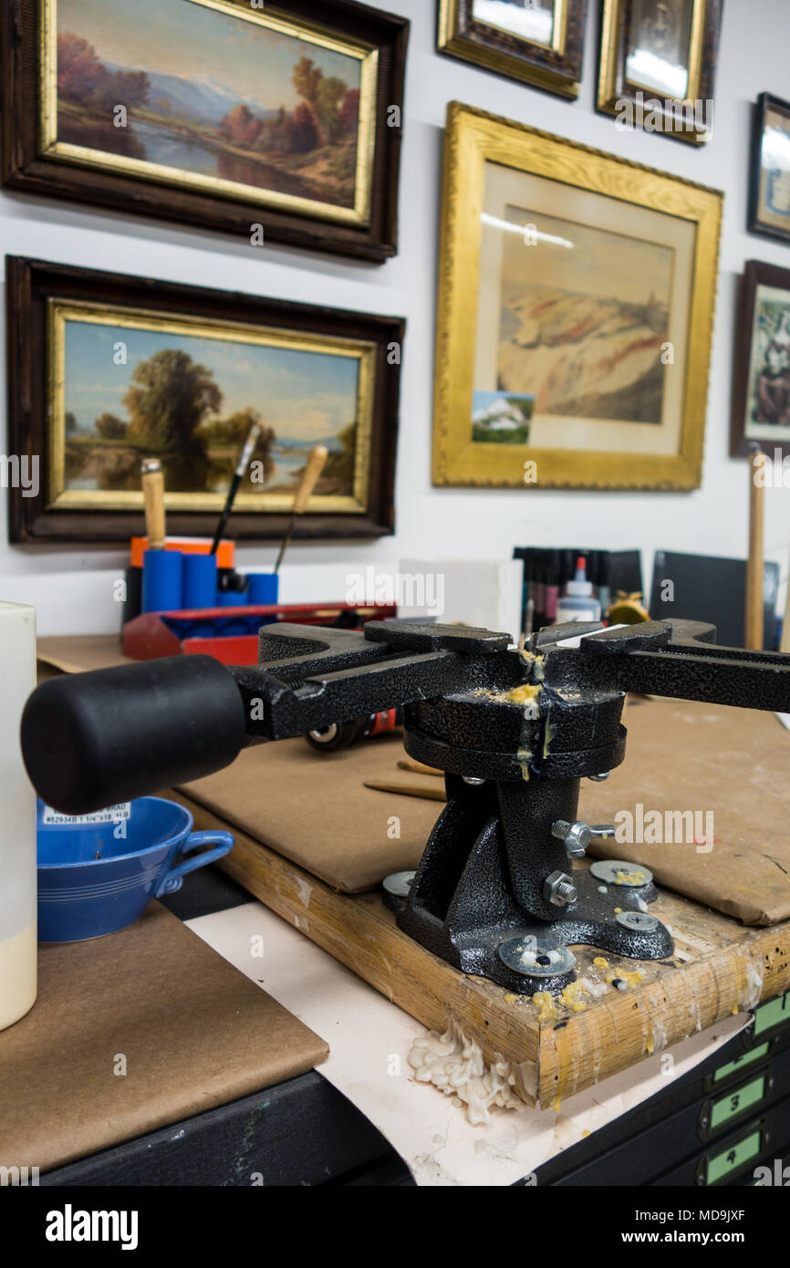 Equipment and tools in a frame making shop Stock Photo: 180306631 ...