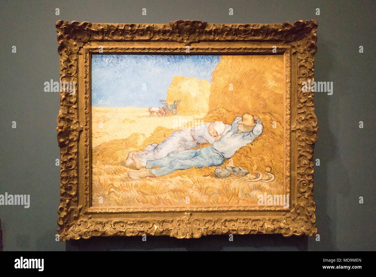 Paris, France. Feb 2018. Musee du Louvre, Louvre Museum. Musee D'Orsay. Tour Eiffel. Arc de Triomphe. Van Gogh. Gioconda. Art and culture. - Stock Image