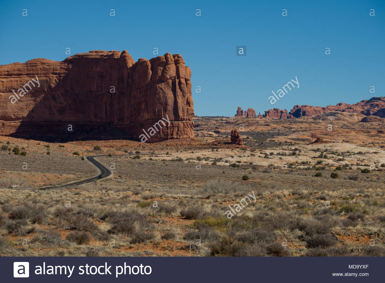Asphalt road twisting through the landscape in Arches National Park, Grand County, Utah, USA - Stock Image
