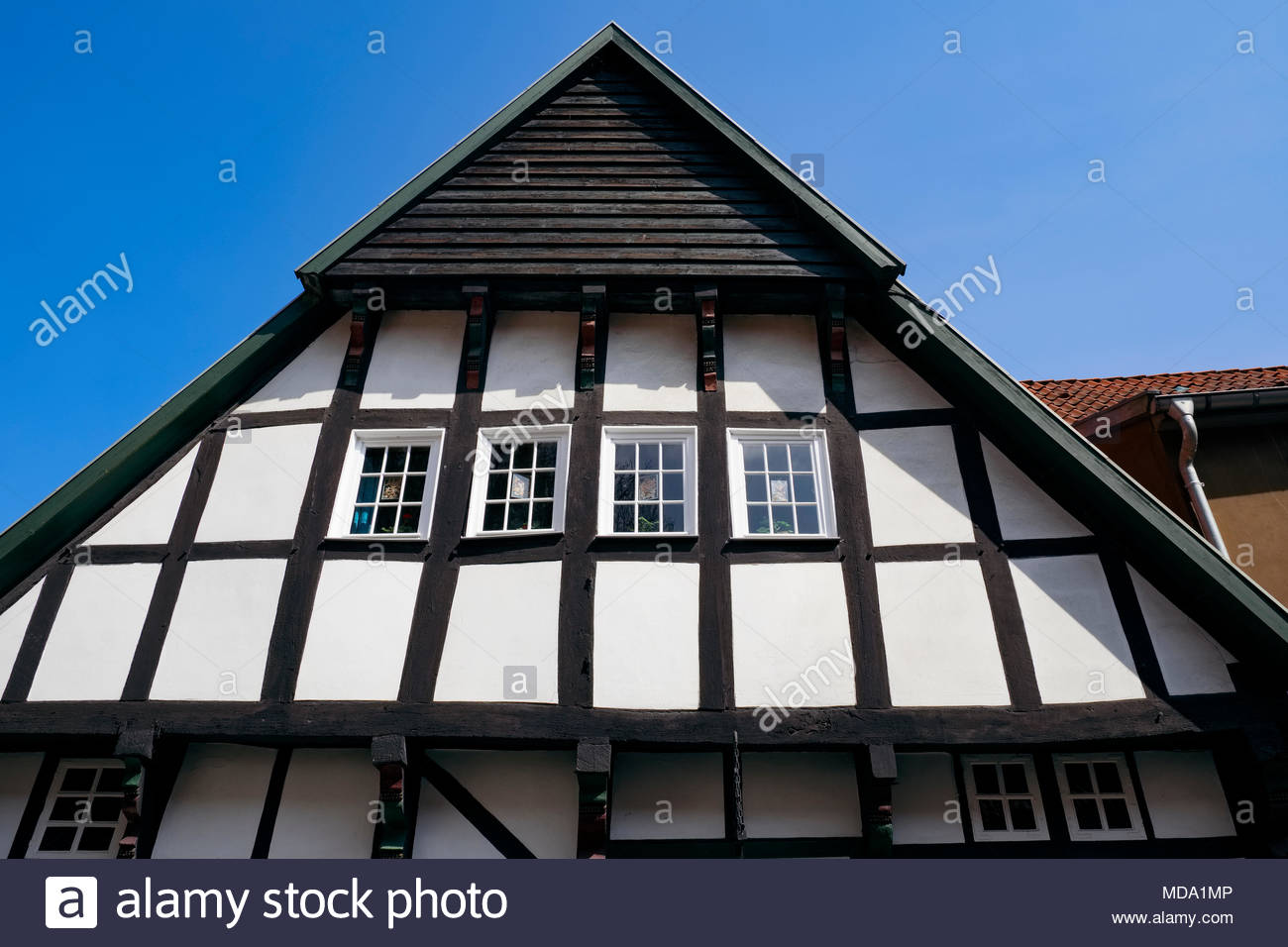 Architectural detail of post and beam building in Tecklenburg, NRW, Germany - Stock Image