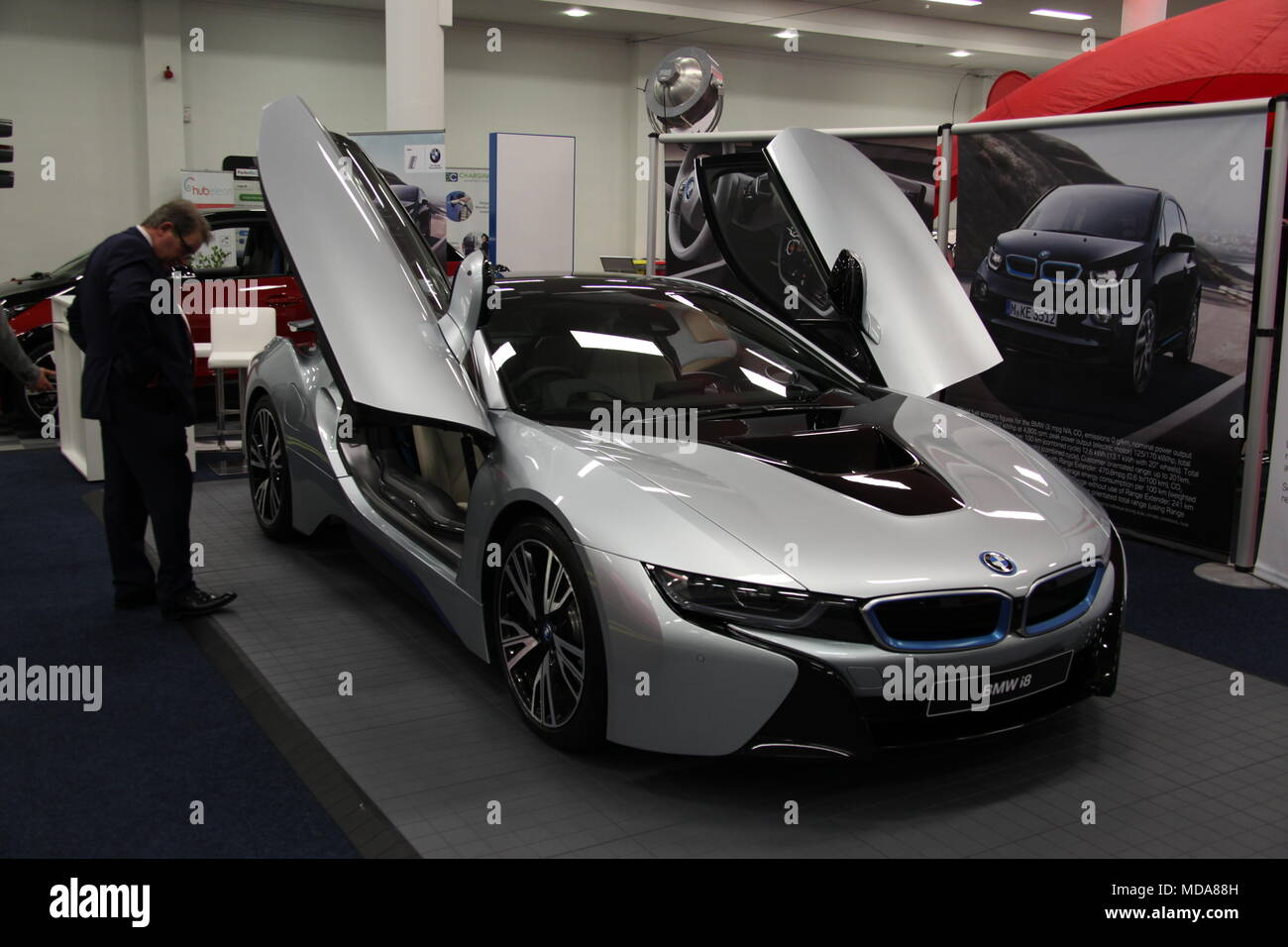 Dublin Ireland 18th Apr 2018 A Visitor Looks At A Bmw I8