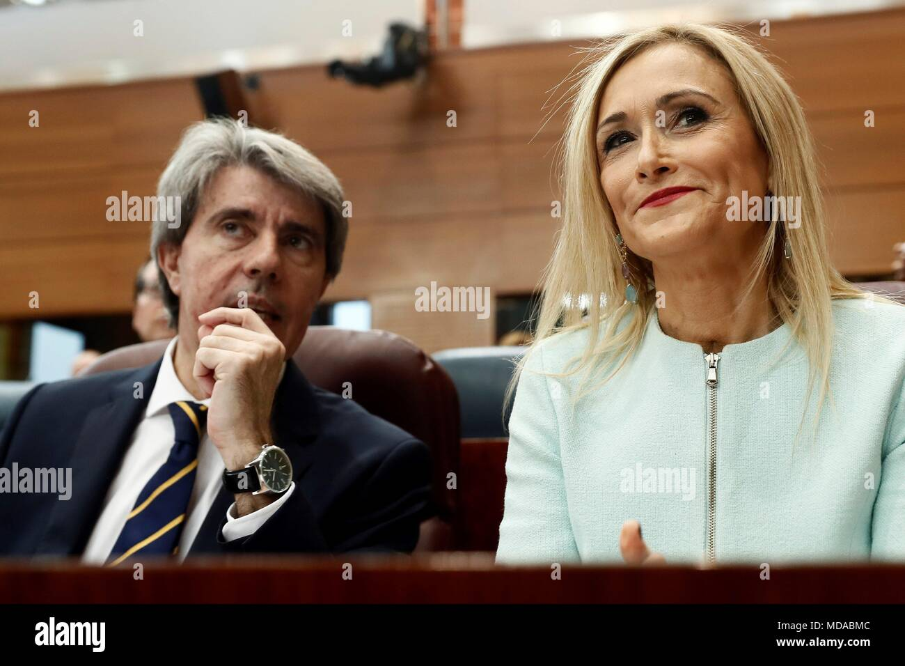 Madrid regional Government President, Cristina Cifuentes (R), next to Madrid's Government Spokesman, Angel Garrido, during the plenary session of the regional Assembly, in Madrid, Spain, 19 April 2018. Cifuentes will answer questions related to the scandal for the alleged falsification of her masters degree grades at Rey Juan Carlos University. EFE/Mariscal - Stock Image