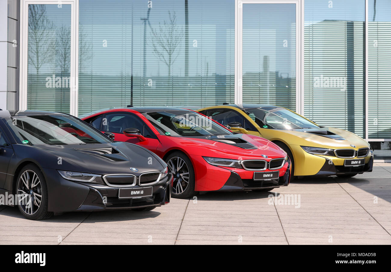 18 April 2018 Germany Leipzig Three Bmw I8 Vehicles In Black Red