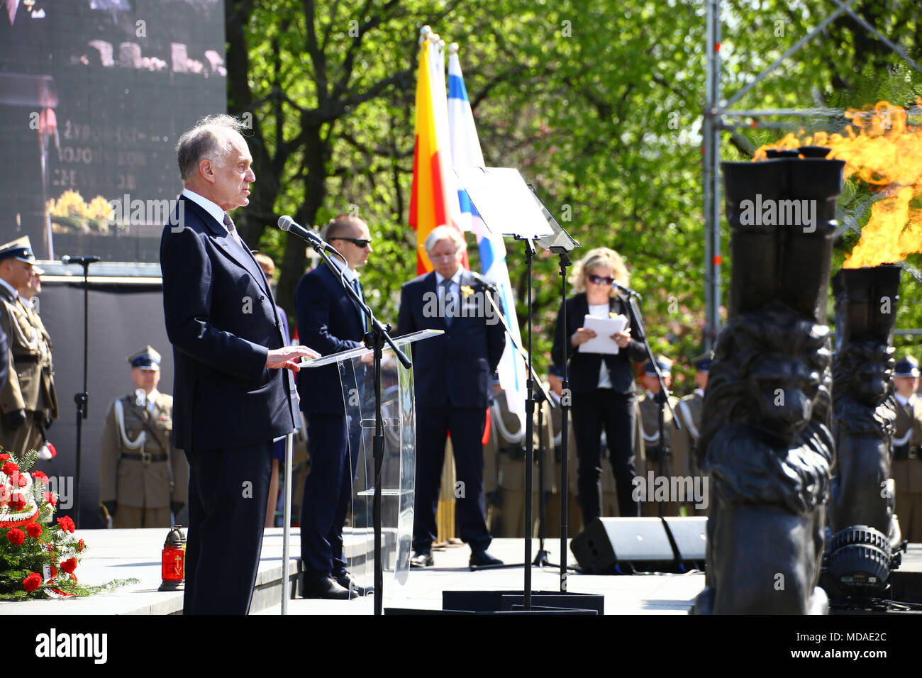 Poland, Warsaw, 19th April 2018: President Andrzej Duda join commemorations on 75th Warsaw ghetto uprising together with the President of the World Jewish Congress Ronald Lauder at the Jewsih cemetry and Ghetto Heroes Monument in Warsaw. ©Jake Ratz/Alamy Live News Stock Photo