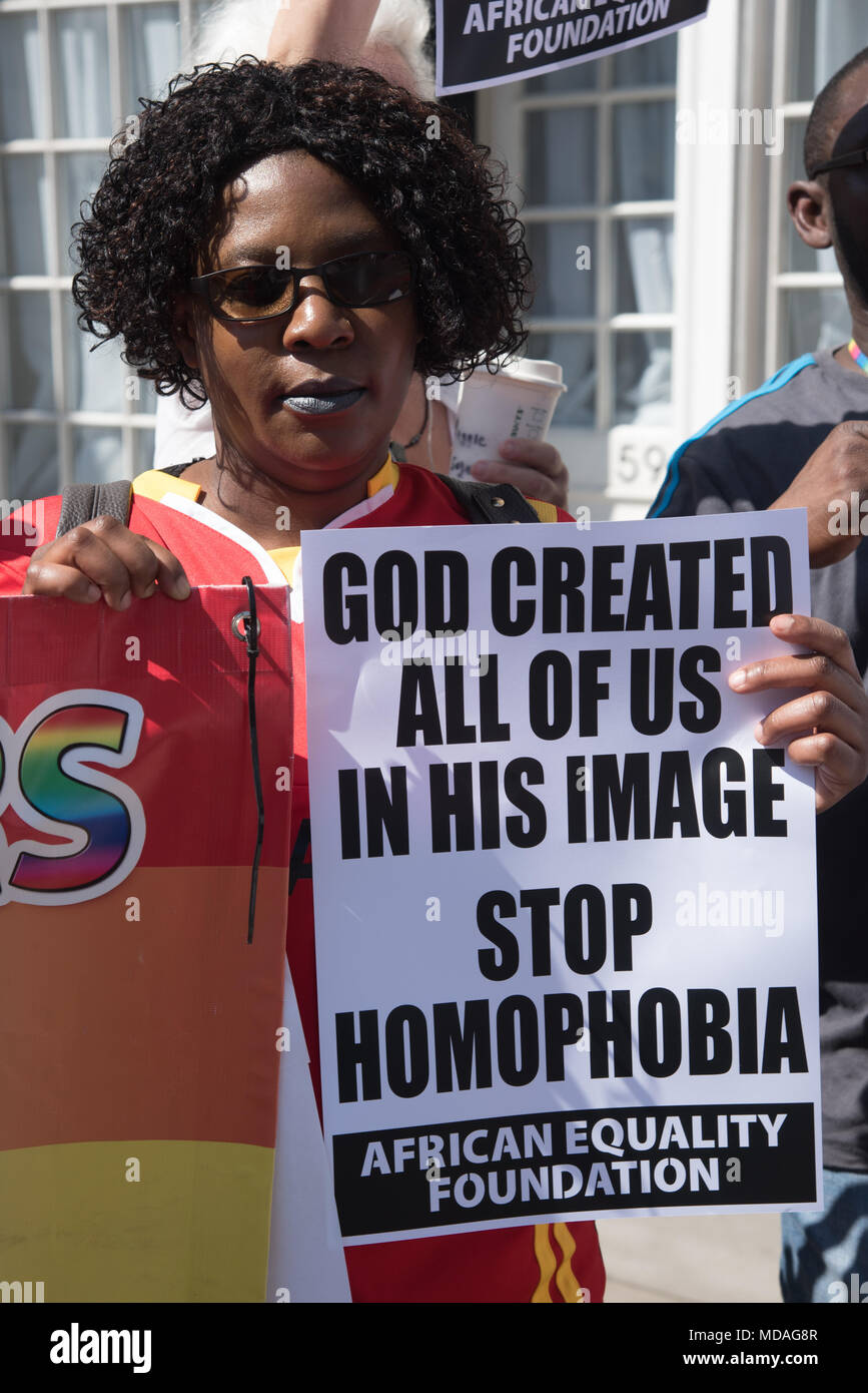 London, UK. 19th April 2018. LGBT people protest against 70% of Commonwealth nations are bastions of homophobic prejudice, discrimination & violence and STOP persecuting LGBT people outside Marlborough House during Commonwealth Confrence Leaders meeting in London, UK. Credit: See Li/Alamy Live News Stock Photo