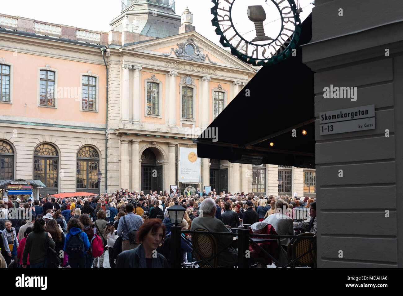 Stockholm, Sweden, 19th April, 2018. Crisis in the Swedish Academy.  Manifestation calling on the entire Swedish Academy to resign.Credit: Barbro Bergfeldt/Alamy Live News - Stock Image