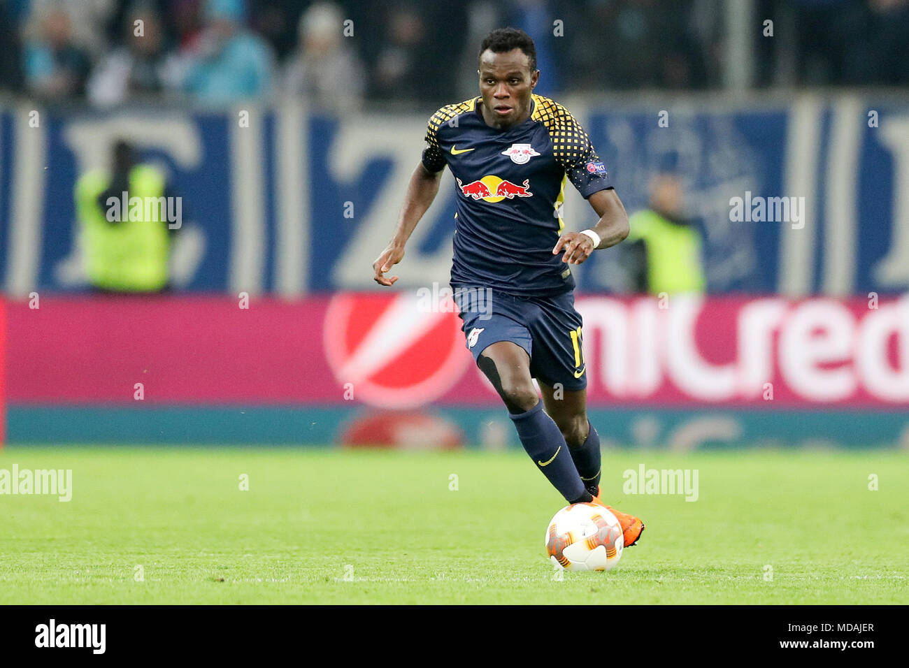 12 April 2018, Marseille, France: soccer, Europa League, Olympique Marseille vs RB Leipzig, Stade Orange Vélodrome: Leipzig's Bruma in action. Photo: Jan Woitas/dpa-Zentralbild/dpa - Stock Image