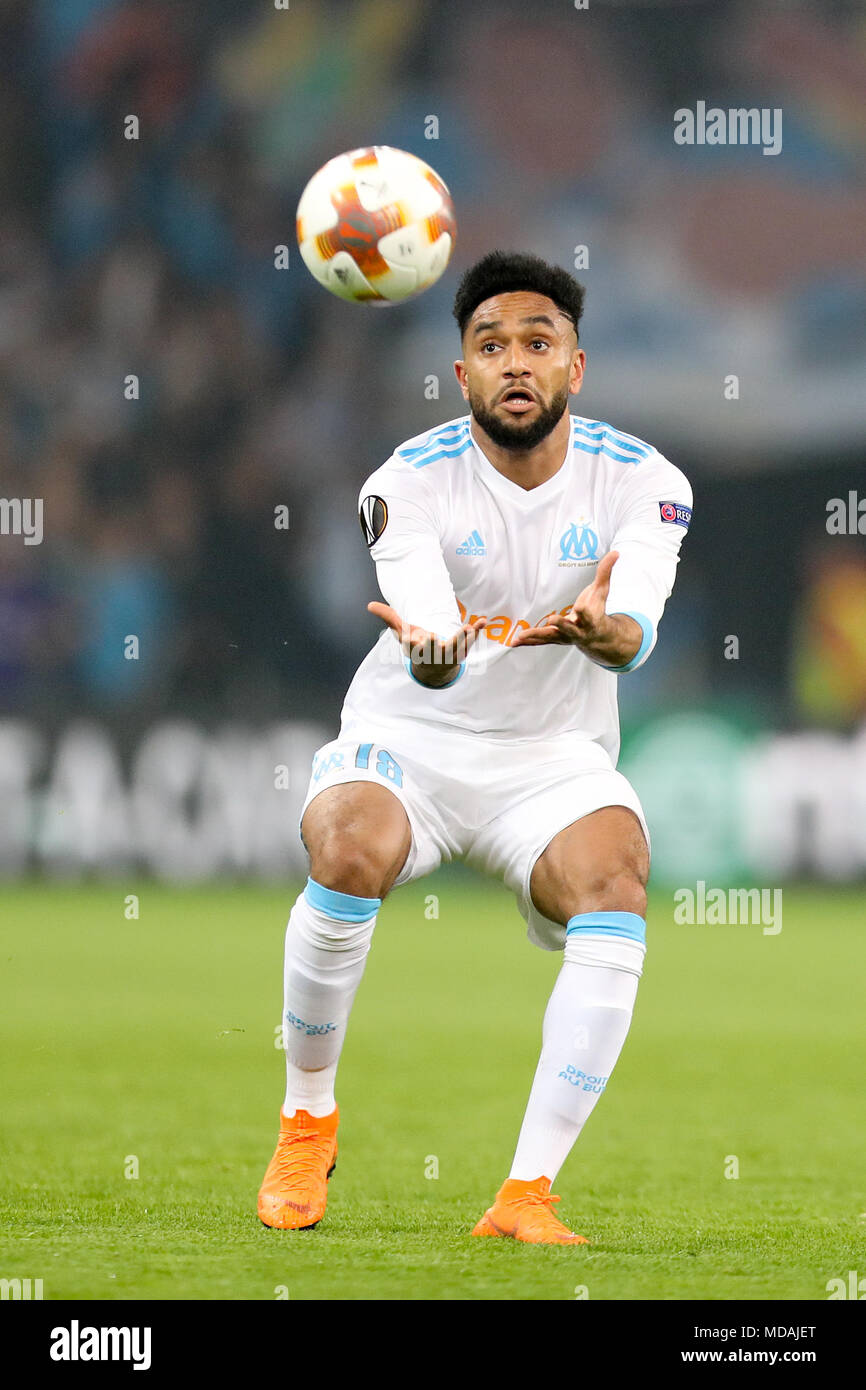 12 April 2018, Marseille, France: soccer, Europa League, Olympique Marseille vs RB Leipzig, Stade Orange Vélodrome: Marseille's Jordan Amavi in action. Photo: Jan Woitas/dpa-Zentralbild/dpa - Stock Image
